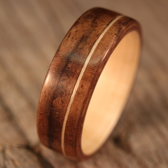 Size 13 - Beeswing Walnut Lined With Maple With Offset Maple Inlay Bentwood Ring - Handcrafted Wooden Ring