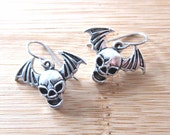 Flying Bat Wing Goth Skull Charm Earrings