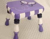 Simply Plush Handpainted Child Step Foot Stool - Butterfly