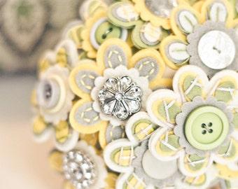 Custom Color Button Bridal Bouquet