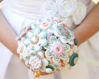 Custom Color Felt and Button Toss Bouquet