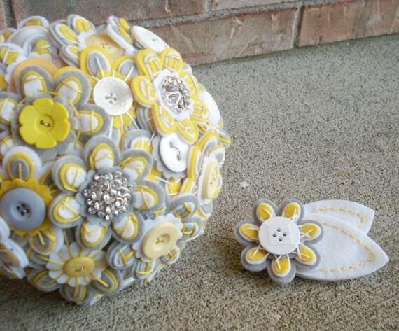 Custom Bridal Felt Button Bouquet