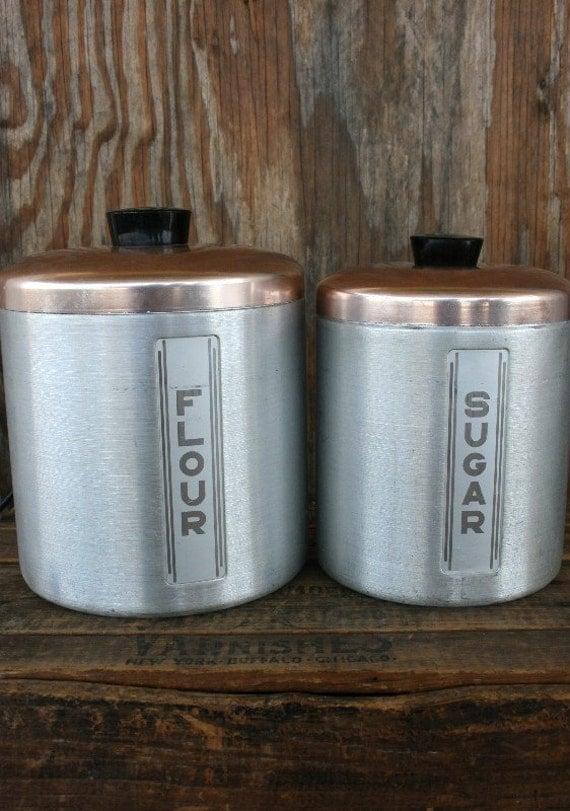 vintage modern flour and sugar canisters by snapsink on etsy. Black Bedroom Furniture Sets. Home Design Ideas
