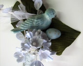 Grooms Boutonniere Aqua Blue and White Vintage Style Bird and Egg