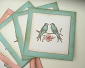 Shabby Lovebird Gift Tag, Gift Embellishment, Pink and Aqua