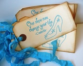 Cinderella Shoe Gift Tag Blue Aqua