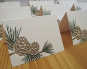 RESERVE FOR ANA 230 Rustic Pine Wedding Placecards Escort Cards, Pinecone Cards, Christmas Place Cards