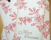 Merry Christmas Gift Tags, Red Rose, Toile Wedding Wish Tags
