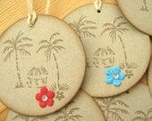 Tropical Hawaii Island Style Beach Hut and Palm Tree Gift Tags, Hawaii Wedding Favor