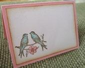 Lovebirds Wedding Placecards, Escort Cards, Shabby Vintage Style Pink and Aqua Lovebirds