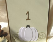 White Pumpkin Wedding Table Numbers, Fall Table Numbers