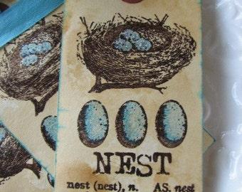 Aqua and Brown Bird Nest tags