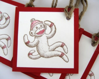 Red and cream sock monkey gift tags