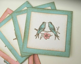 Shabby Lovebird Gift Tag, Gift Embellishment, Pink and Aqua
