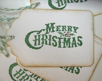 Merry Christmas tags, Vintage Style Gift Tags