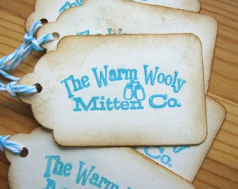 Christmas Gift Tags, Warm Wooly Mitten Co Holiday Tags