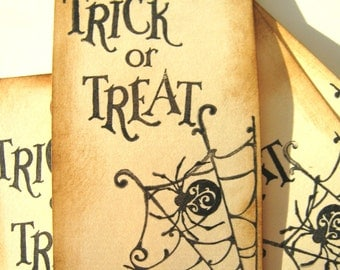 Trick or Treat Spider Web Tags