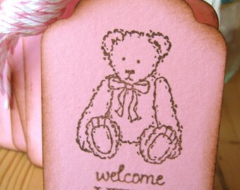 Pink Teddy Bear Baby Shower Tags
