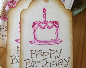 Happy Birthday, Cake Gift Tags,  Pink