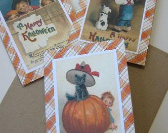 Halloween Note Cards Pumpkin Black Cat Dog Children