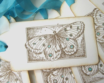 Butterfly Wedding Wish Tags, Escort Cards, Aqua and Brown 50