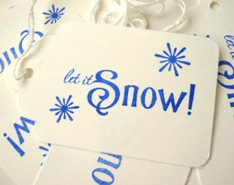 Blue Christmas Let it Snow Gift Tags