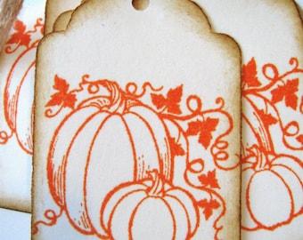 Pumpkin Holiday Thanksgiving Gift Tags Orange