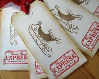 Christmas Gift Tags, Santa Sleigh tags, Special Delivery by Santa Sleigh
