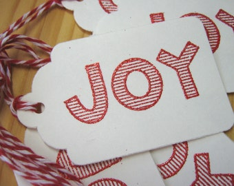 Christmas Gift Tags, Red and White Candy Cane Joy