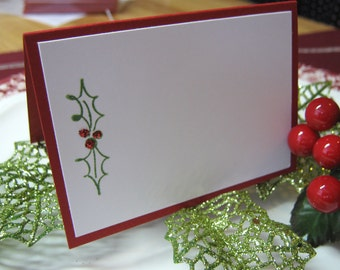 Holly Christmas Placecards, Escort Cards