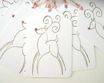 Christmas Gift Tag, Reindeer Gift Tags Elegant