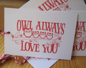 Owl Valentine Love Tags