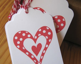 Red Polka Dot Heart Valentine Tags
