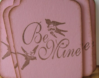 Valentine Tag, Swallow Birds, Be Mine, Pink