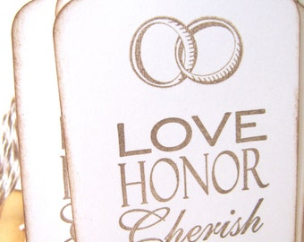 Weddding Wish Tags, Love, Honor, Cherish, Wedding Rings