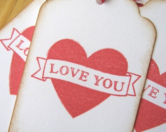 Red Love You Valentine Gift Tags