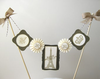 Cake Bunting, Eiffel Tower, Paris, French Cake Topper
