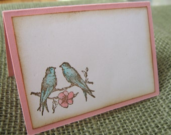 Lovebirds Wedding Placecards, Escort Cards, Shabby Vintage Style Pink and Aqua Lovebirds