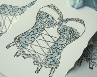 Something Blue Lingerie Corset Bustier Gift Tags, Wedding Shower Tags, Bachelorette Tags