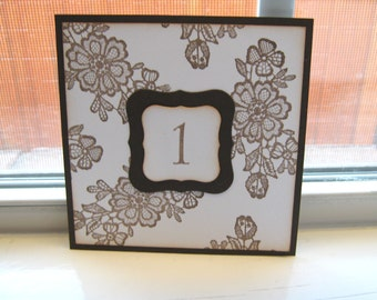 Vintage Style Lace Wedding Table Numbers, Lace Table Numbers