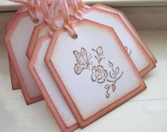 Pink Butterfly and Rose Mini Gift Tags