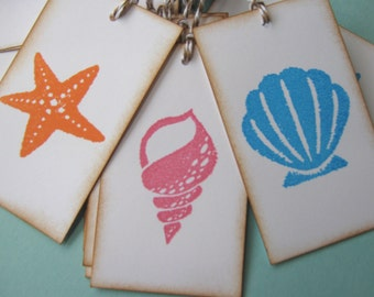 Starfish, Seashell Wedding Wish tags, Seashell gift tags, Starfish gift tags
