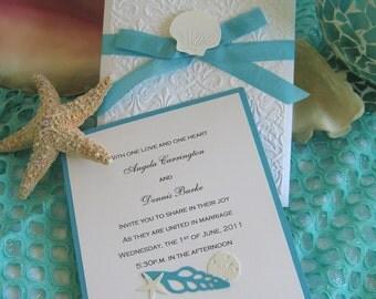 Seashell and Lace Beach Wedding Invitation
