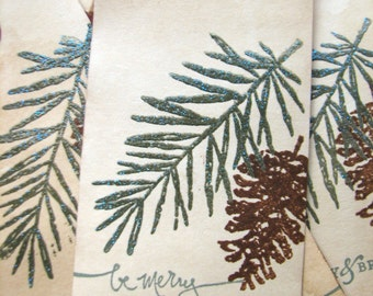 Christmas Gift Tag, Pine Tree Pine Cone Woodland Gift Tag