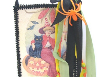 Halloween decor postcard witch and black cat sign