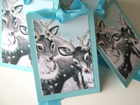 Aqua Christmas Gift Tags Reindeer