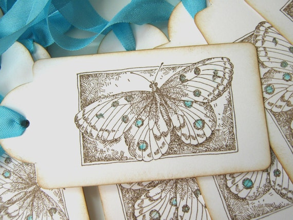 Butterfly Wedding Wish Tags, Escort Cards, Aqua and Brown