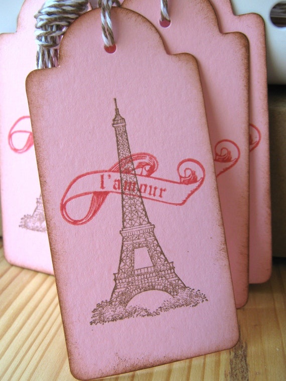 Eiffel Tower French Paris Valentine Gift Tags