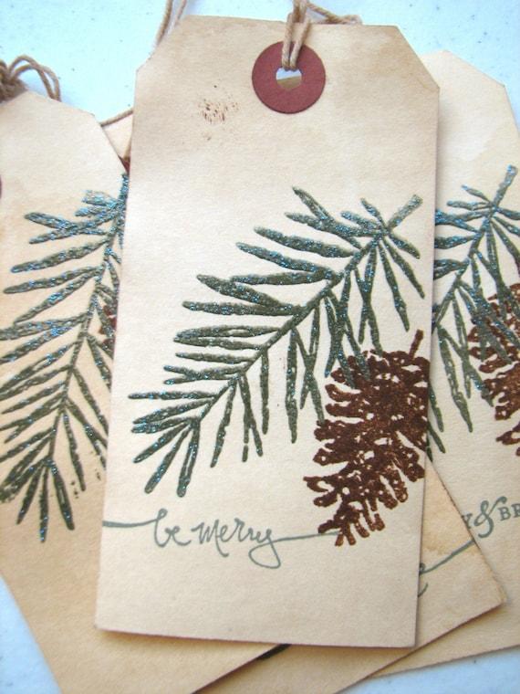 Christmas Gift Tag, Pine Tree Pine Cone Woodland Gift Tag