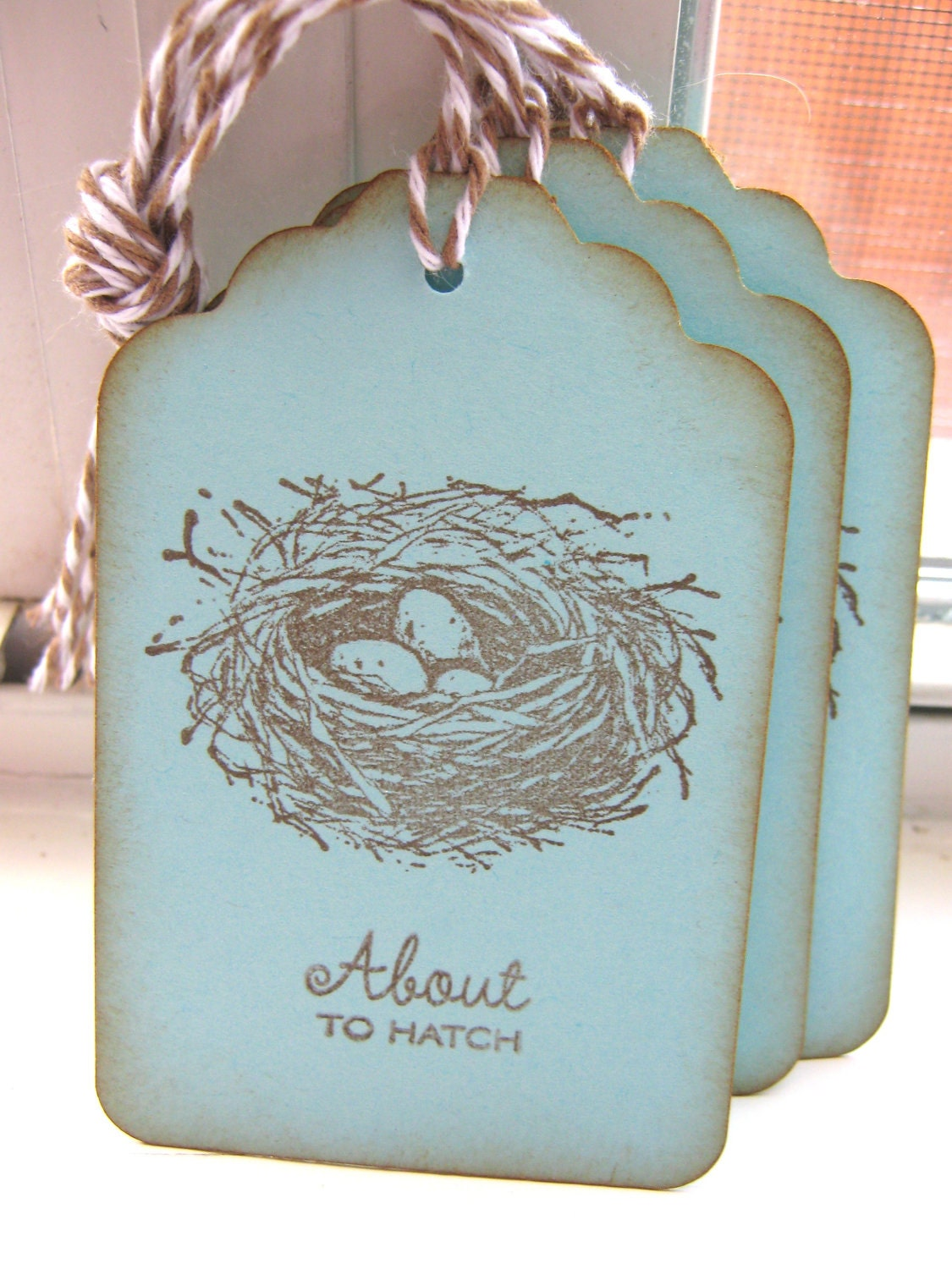 About to Hatch Nest Baby Shower Gift Tags